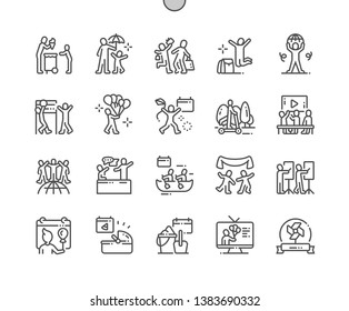 International Children's Day Well-crafted Pixel Perfect Vector Thin Line Icons 30 2x Grid for Web Graphics and Apps. Simple Minimal Pictogram