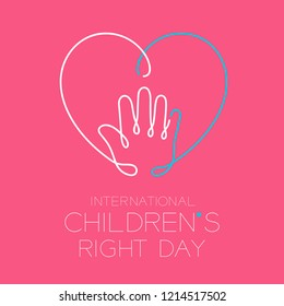 International Children's Right Day logo icon outline stroke set, hand and heart design illustration isolated on pink background with copy space, vector eps10