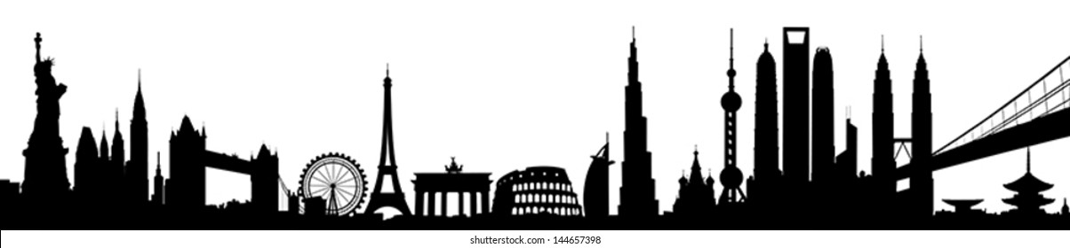 International City Skyline Silhouette vector artwork