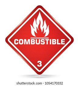 International Combustible Class 3 Symbol, red Warning Dangerous icon on white background, Attracting attention Security First sign, Idea for,graphic,web design,Vector,EPS10.