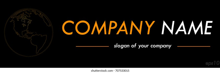 International company vector logo template, logotype isolated over black background, logo outline, emblem element