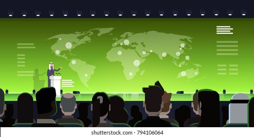 International Conference Meeting Concept Arab Business Man Or Politician Leading Presentation From Tribune Over World Map Arabian Speaker Training With Big Audience Flat Vector Illustration