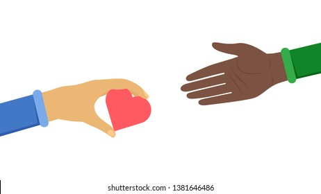 International cooperation symbol flat illustration. Caucasian gives helping hand to black man, promoting world peace. Anti-racist, ethnic equality, unity in diversity flat banner design element