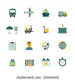 International coordination logistics 24 hours worldwide container delivery service flat icons internet symbols pictograms collection isolated vector illustration