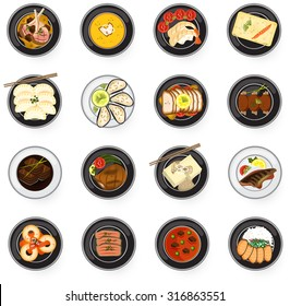 International cuisine Asian to Western gourmet food serve as main dish in restaurant such as lamb chop fish steak stew soup prawn salmon sashimi sushi gyoza dumpling tofu and oyster icon set (vector)