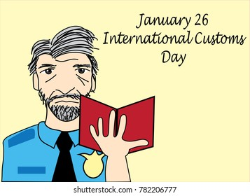 International Customs day cartoon character aged man with grey hair and passport in uniform