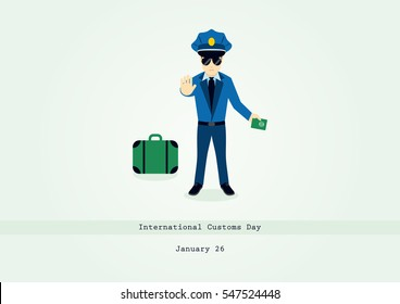 International Customs Day vector. Cartoon character of a customs officer. Important day