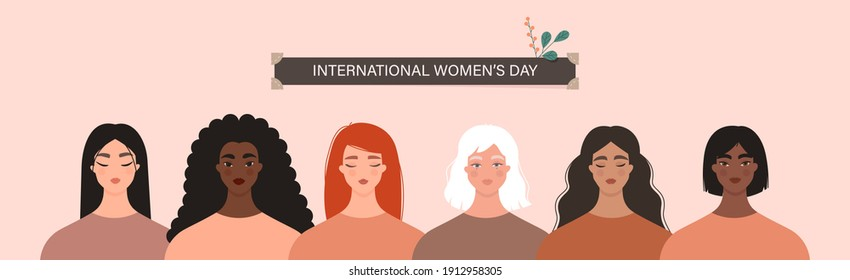 International Women's Day, 8 March. Women diversity concept. Group of multiethnic female characters. Portraits of caucasian, asian, black, latina girls standing together. Isolated vector banner