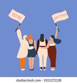 International women's day. 8th march. Poster with different skin color women with a transponder. Vector illustration in flat style for greeting card, postcard, web, banner. Eps 10