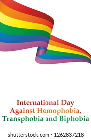 International Day Against Homophobia, May 17. Rainbow flag, representing LGBT pride. (lesbian, gay, bisexuala, and transgender). LGBT movement. Template for design. Bright, colorful vector illustration
