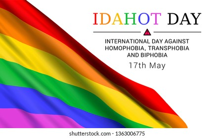 International Day Against Homophobia, Transphobia and Biphobia May 17. Vector design concept with waving rainbow LGBT flag and text on white background.