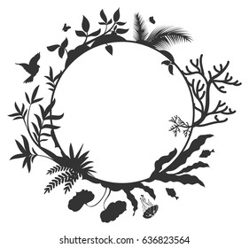 International Day for Biological Diversity round frame elements nature. Isolated black and white vector illustration