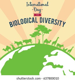 International Day for Biological Diversity. Suitable for banner, poster, greeting card, mug, shirt, template and print advertising. Vector Illustration