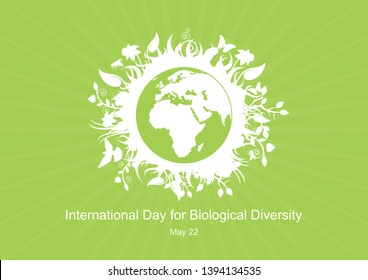 International Day for Biological Diversity vector. Green planet earth vector. Planet Earth with fauna and flora vector. Environmental concept with eco planet earth. Important day