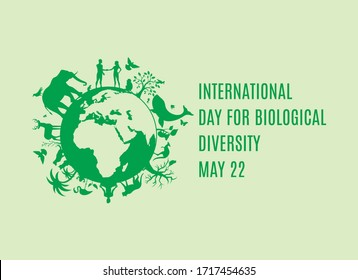 International Day for Biological Diversity vector. Planet Earth with fauna and flora icon. Green planet earth vector. Wild animals silhouette vector. Biodiversity Day Poster, May 22. Important day