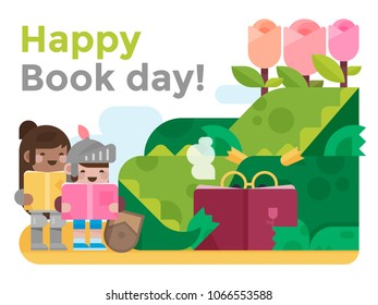 International day of the book and Saint George's day in Catalonia: tale of the Dragon, the princess, teh knight and the Rose