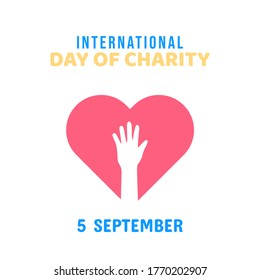 International Day of Charity, 5 September. donate conceptual illustration vector.