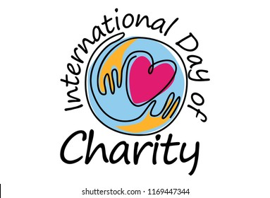 international day of charity in line art style