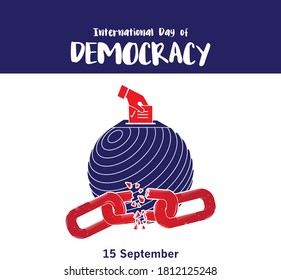 International Day of Democracy, September 15. The International Day of Democracy is celebrated around the world on 15 September each year. It was established through a resolution passed by the UN.