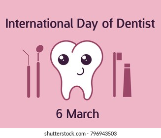 International day of dentist banner with teeth character. Vector illustration in flat style