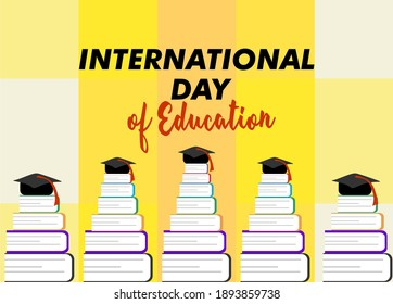 International Day of Education. Education concept vector illustration with stacks of books.