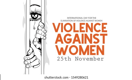 """International day for the elimination of Violence Against Women"""" on white silhouette of human hand with the day,"""