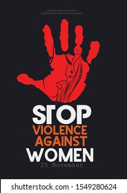 "International day for the elimination of Violence Against Women"" on white silhouette of human hand with the day,"