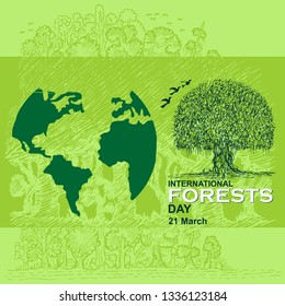 International Day of Forest Vector Illustration. - Vector