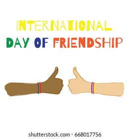 International day of Friendship. Vector illustration. Two hands with colorful bracelets.