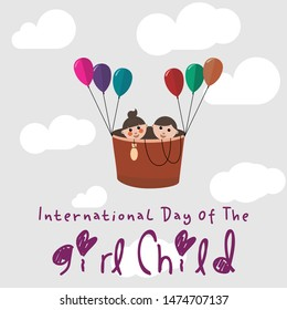 International Day of the Girl Child with twice of Girl Child cartoon when flying with a blimp