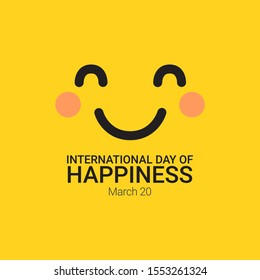 International Day of Happiness Vector Template Design Illustration