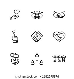 International Day of Human Solidarity Line Vector Icons Set. Contains such Icons as Handshake, Heart, planet Earth, helping Hand, People and more. Editable Stroke. 32x32 Pixels
