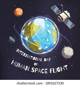 international day of human space flight vector illustration with artificial satellite of earth at cosmic orbit