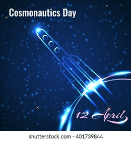 International day of human space flight. 12 April card. Vector Design Template greeting card with day of cosmonautics. Vector day cosmonautics.