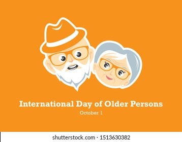 International Day of Older Persons vector. Face of a happy senior vector. Elderly couple in love vector. Elderly cartoon character. Loving couple of pensioners vector. Elderly couple icon