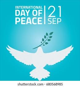 International Day of Peace, 21 September. White dove bird conceptual illustration vector.