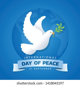international day of peace banner with white dove with leaf on blue circle wolrd background vector design