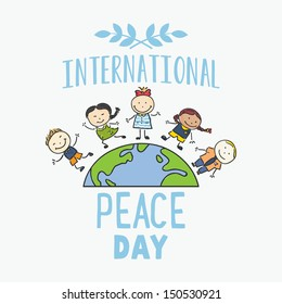 International Day of Peace - Children celebrating on planet Earth