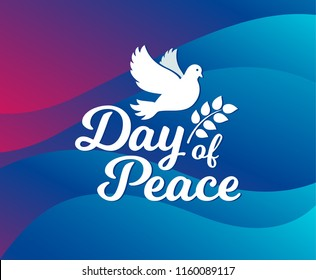 International day of peace. Concept illustration with dove of Peace day. Olive branch. Vector waves background.