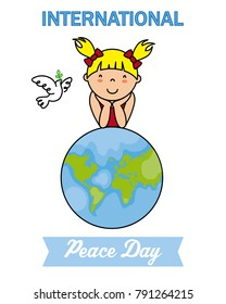 international Day of Peace. girl over world ball
