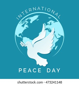 International day of Peace illustration. Dove of Peace fly against globe silhouette.