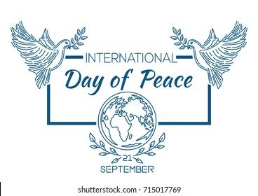International Day of Peace known as World Peace Day. Pigeons over the globe. September 21. Vector illustration