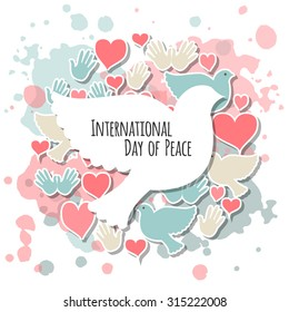 International Day of Peace vector illustration. Flat design style icons with pigeons. Badges with birds, heart, hand. Celebration template for postcard, invitation card, print