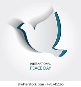 International day of peace- vector illustration of white paper cutout dove. Realistic notch. Creative idea. 3d white bird. Template for wedding, banner, poster, advertisement.Symbol of tolerance,trust