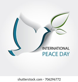 International day of peace. Vector illustration of white paper cutout dove. Realistic notch. Creative idea. 3d white bird. Template for wedding, banner, poster, advertisement.Symbol of tolerance,trust