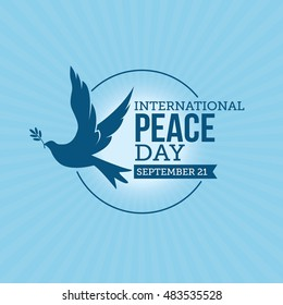 International Day of Peace vector illustration.Peace dove with olive branch for International Peace Day poster. Great for Greeting Card, Emblem and Banner