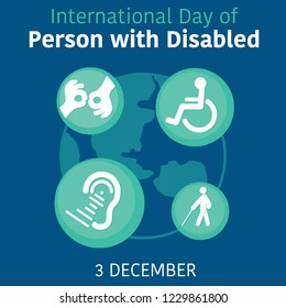international day of person with disabled design with symbolical icons Vector illustration