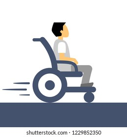 International day of persons with disabilities. Man in wheelchair. Physically handicapped person living full happy life with disability. Flat style vector illustration