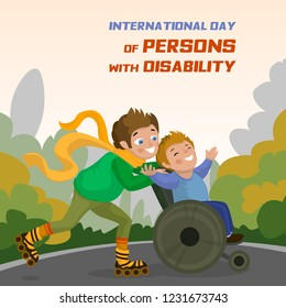 International day of persons with disability concept background. Cartoon illustration of international day of persons with disability vector concept background for web design