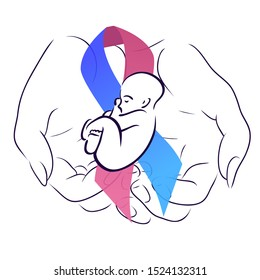 International day of premature babies. Woman hand with festive ribbon with a baby. Motherhood and care. The object is separate from the background. Vector element for articles, logos and your design.